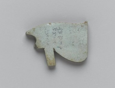 <em>Wadjet-eye Amulet</em>, 664-30 B.C.E. Faience, 7/8 x 15/16 x 1/8 in. (2.2 x 2.4 x 0.3 cm). Brooklyn Museum, Gift of the Egypt Exploration Fund, 02.235. Creative Commons-BY (Photo: Brooklyn Museum, 02.235_back_PS2.jpg)