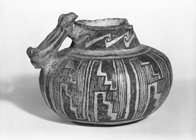 Ancient Pueblo (Anasazi). <em>Pitcher</em>, 350-1300. Clay, slip, pigment, 3 3/4 x 5 1/8 in. (9.5 x 13 cm). Brooklyn Museum, Gift of Charles A. Schieren, 02.256.2266. Creative Commons-BY (Photo: Brooklyn Museum, 02.256.2266_bw_SL5.jpg)