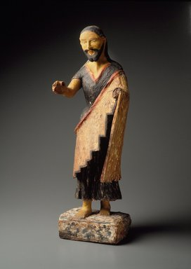 Zia Pueblo. <em>Carved Figure (Bulto) of Saint Joseph</em>, 19th century. Wood, cloth, gesso, paint, 25 1/4 x 7 1/2 x 5 1/4in. (64.1 x 19.1 x 13.3cm)). Brooklyn Museum, Riggs Pueblo Pottery Fund, 02.257.2425. Creative Commons-BY (Photo: Brooklyn Museum, 02.257.2425.jpg)