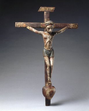Attributed to José Rafael Aragón (ca. 1795-1862). <em>Crucifix</em>, ca. 1820-1862. Pine, leather, gesso, water-based paints, Cross: 22 1/2 x 14 1/2 in. (57.2 x 36.8 cm). Brooklyn Museum, Brooklyn Museum Collection, 02.257.2427. Creative Commons-BY (Photo: Brooklyn Museum, 02.257.2427_SL1.jpg)