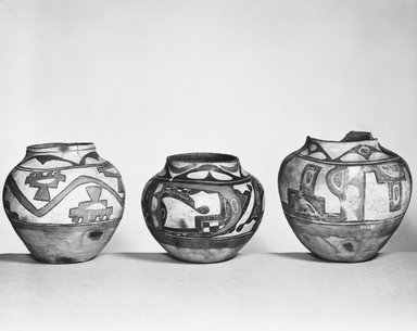 Pueblo, Keres. <em>Jar</em>. Clay, 10 1/8 in.  (25.7 cm). Brooklyn Museum, Riggs Pueblo Pottery Fund, 02.257.2462. Creative Commons-BY (Photo: Brooklyn Museum, 02.257.2462_bw_SL5.jpg)