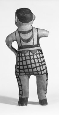 Ko-Tyit (Cochiti Pueblo) (Keres). <em>Image of A Man</em>. Ceramic, pigment, 19 3/8 in.  (49.2 cm). Brooklyn Museum, Riggs Pueblo Pottery Fund, 02.257.2473. Creative Commons-BY (Photo: Brooklyn Museum, 02.257.2473_back_bw_SL5.jpg)
