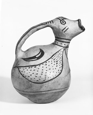 Pueblo, Keres. <em>Water Bottle or Jug</em>. Clay, pigment, 8 7/8 in.  (22.5 cm). Brooklyn Museum, Riggs Pueblo Pottery Fund, 02.257.2551. Creative Commons-BY (Photo: Brooklyn Museum, 02.257.2551_bw_SL5.jpg)