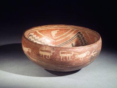 Ancient Pueblo (Anasazi). <em>Fourmile Polychrome Bowl</em>, 1350-1400 C.E. Ceramic, slip, 4 1/2 x 9 7/16 x 9 7/16 in. (11.4 x 24.0 x 24.0 cm). Brooklyn Museum, Riggs Pueblo Pottery Fund, 02.257.2562. Creative Commons-BY (Photo: Brooklyn Museum, 02.257.2562.jpg)