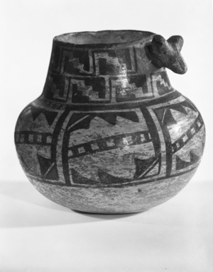 She-we-na (Zuni Pueblo). <em>Decorated Jar or Vase</em>, late 19th century. Clay, pigment, 4 3/4 x 3 in. (12.0 x 7.6 cm). Brooklyn Museum, Riggs Pueblo Pottery Fund, 02.257.2578. Creative Commons-BY (Photo: Brooklyn Museum, 02.257.2578_bw_SL5.jpg)