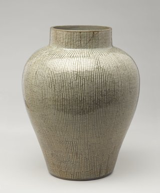 <em>Jar</em>, 18th century. Glazed stoneware with inlaid slip decoration; Yatsushiro ware, 16 1/4 x 13 1/2 in. (41.3 x 34.3 cm). Brooklyn Museum, Gift of Carll H. de Silver, 02.32. Creative Commons-BY (Photo: Brooklyn Museum, 02.32_PS9.jpg)