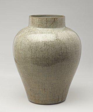 <em>Jar</em>, 18th century. Glazed stoneware with inlaid slip decoration; Yatsushiro ware, 16 1/4 x 13 1/2 in. (41.3 x 34.3 cm). Brooklyn Museum, Gift of Carll H. de Silver, 02.32. Creative Commons-BY (Photo: Brooklyn Museum, 02.32_PS9.jpg)
