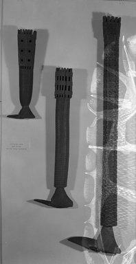 Mangaian. <em>Pedestal Adze (Ruatangaeo)</em>. Wood, sennit, hide, 29 1/2 x 3 3/8 in. (75 x 8.5 cm). Brooklyn Museum, Brooklyn Museum Collection, 02.58. Creative Commons-BY (Photo: Brooklyn Museum, 02.58_acetate_bw.jpg)