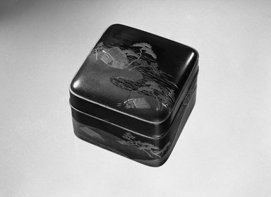 <em>Square Incense Box and Cover</em>, 18th century or earlier. Lacquer, wood, 2 5/16 x 2 15/16 x 2 15/16 in. (5.9 x 7.5 x 7.5 cm). Brooklyn Museum, Gift of Robert B. Woodward, 03.201a-b. Creative Commons-BY (Photo: Brooklyn Museum, 03.201a-b_bw.jpg)