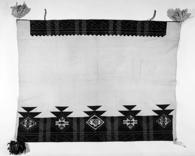 Pueblo (unidentified). <em>White Mantle with embroidered edges</em>, late 19th or early 20th century. Cotton, wool, 59 1/16 x 40 3/16 in.  (150 x 102 cm). Brooklyn Museum, Brooklyn Museum Collection, 03.219. Creative Commons-BY (Photo: Brooklyn Museum, 03.219_bw.jpg)