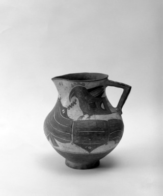 Haak'u (Acoma Pueblo). <em>Pitcher with Parrots</em>. Clay, pigment, slip, 8 1/16 x 7 7/8 in. (20.5 x 20 cm). Brooklyn Museum, Brooklyn Museum Collection, 03.224. Creative Commons-BY (Photo: Brooklyn Museum, 03.224_bw.jpg)