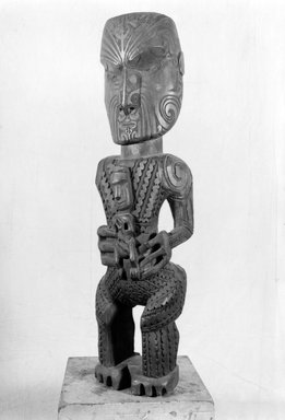Maori. <em>Post Figure (Pou Tokomanawa)</em>, ca. 1860. Wood, 32 3/4 x 9 3/4 x 6 3/4 in.  (83.2 x 24.8 x 17.1 cm). Brooklyn Museum, Purchased with funds given by A. Augustus Healy, Carll de Silver and Robert B. Woodward, 03.324.2786. Creative Commons-BY (Photo: Brooklyn Museum, 03.324.2786_side_front_acetate_bw.jpg)