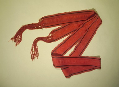 She-we-na (Zuni Pueblo). <em>Women's Belt (A-ni-shi-lo-wa)</em>, 19th century. Handspun wool, commercial cotton twine, 130 x 3 1/3 in. (323.0 x 8.5 cm). Brooklyn Museum, Museum Expedition 1903, Museum Collection Fund, 03.325.3376. Creative Commons-BY (Photo: Brooklyn Museum, 03.325.3376_belt.jpg)