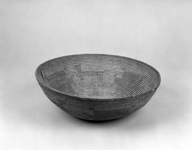 Paiute (possibly Northern). <em>Coiled Ceremonial Basket</em>. Fiber, (12.5 x 36.8 cm). Brooklyn Museum, Museum Expedition 1903, Museum Collection Fund, 03.325.3593. Creative Commons-BY (Photo: Brooklyn Museum, 03.325.3593_bw.jpg)