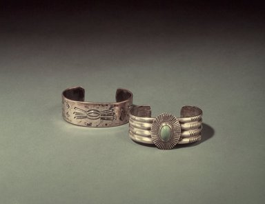 Navajo. <em>Bracelet</em>, early 20th century. Silver, stone, 2 1/2 x 2 in. (6.4 x 5.1 cm). Brooklyn Museum, Brooklyn Museum Collection, X994.2. Creative Commons-BY (Photo: , 03.325.3695_X994.2.jpg)