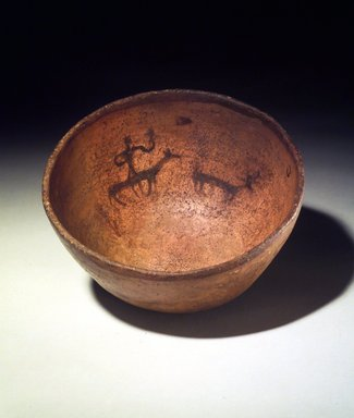 Navajo. <em>Bowl (Tetsa) Decorated with Animal and Human Figures</em>, 19th century. Clay, slip, 3 1/2 x 7 1/2 x 7 1/2 in. (8.9 x 19.1 x 19.1 cm). Brooklyn Museum, Museum Expedition 1903, Museum Collection Fund, 03.325.3804. Creative Commons-BY (Photo: Brooklyn Museum, 03.325.3804.jpg)