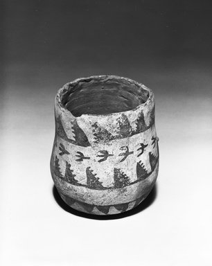 Ancient Pueblo (Anasazi). <em>Pitcher</em>, 500-750 C.E. (possibly). Clay, slip, pigment, 4 3/4 x 3 1/2 x 3 1/2 in. (12.1 x 8.9 x 8.9 cm). Brooklyn Museum, Museum Expedition 1903, Museum Collection Fund, 03.325.4209. Creative Commons-BY (Photo: Brooklyn Museum, 03.325.4209_bw_SL5.jpg)