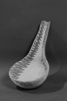Ancient Pueblo (Anasazi). <em>Dipper with Black Design</em>, 900-1300 A. D. Clay, slip, pigment, 9 1/2 x 5 1/8 in (24.1 x 13 cm). Brooklyn Museum, Museum Expedition 1903, Museum Collection Fund, 03.325.4214. Creative Commons-BY (Photo: Brooklyn Museum, 03.325.4214_acetate_bw.jpg)