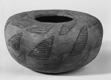 Ancient Pueblo (Anasazi). <em>Vessel in the Shape of a Bowl</em>, Probably 700-900, Pueblo I. Clay, pigment, 3 x 6 x 6 in. (7.6 x 15.2 x 15.2 cm). Brooklyn Museum, Museum Expedition 1903, Museum Collection Fund, 03.325.4265. Creative Commons-BY (Photo: Brooklyn Museum, 03.325.4265_bw_SL5.jpg)