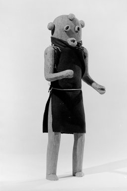 She-we-na (Zuni Pueblo). <em>Kachina Doll (Elsa-pa-sha [Mudhead Clown])</em>, late 19th century. Wood, pigment, cloth, string, nails, 15 x 5 1/2 in. (38.1 x 14.0 cm). Brooklyn Museum, Museum Expedition 1903, Museum Collection Fund, 03.325.4603. Creative Commons-BY (Photo: Brooklyn Museum, 03.325.4603_acetate_bw.jpg)
