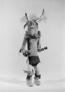 She-we-na (Zuni Pueblo). <em>Kachina Doll (Nahatesho)</em>, late 19th century. Feathers, yarn, spruce, pigment, wool, 12 3/16 x 4 15/16 in. (31 x 12.5 cm). Brooklyn Museum, Museum Expedition 1903, Museum Collection Fund, 03.325.4615. Creative Commons-BY (Photo: Brooklyn Museum, 03.325.4615_acetate_bw.jpg)