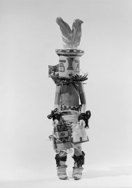 She-we-na (Zuni Pueblo). <em>Kachina Doll (Nahle)</em>, late 19th century. Wood, pigment, cotton cloth, yarn, feather, plant material, 13 3/16 in. (33.5 cm). Brooklyn Museum, Museum Expedition 1903, Museum Collection Fund, 03.325.4618. Creative Commons-BY (Photo: Brooklyn Museum, 03.325.4618_acetate_bw.jpg)