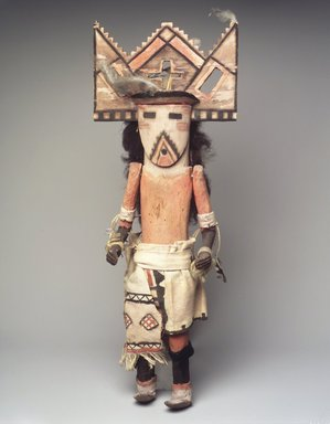 She-we-na (Zuni Pueblo). <em>Kachina Doll (Thlamatona)</em>, late 19th century. Wood, pigment, hair, feathers, yarn, cotton cloth, 20 x 7 x 6 in. (50.8 x 17.8 x 15.2 cm). Brooklyn Museum, Museum Expedition 1903, Museum Collection Fund, 03.325.4620. Creative Commons-BY (Photo: Brooklyn Museum, 03.325.4620_transp624.jpg)