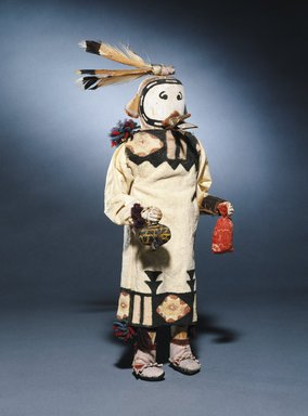 She-we-na (Zuni Pueblo). <em>Kachina Doll (Kyanaque Kahana)</em>, late 19th century. Wood, pigments, cotton, hide, wool, feather, paper, metal, 15 x 5 x 3 1/2 in. (38.1 x 12.7 x 8.9 cm). Brooklyn Museum, Museum Expedition 1903, Museum Collection Fund, 03.325.4623. Creative Commons-BY (Photo: Brooklyn Museum, 03.325.4623_SL1.jpg)