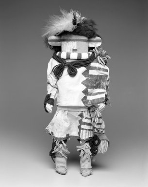 She-we-na (Zuni Pueblo). <em>Kachina Doll (Hututu)</em>, late 19th century. Wood, pigment, fur, cotton textile, feathers, leather, yarn, 16 x 5 1/2 x 5 1/2 in. (40.6 x 14.0 x 14.0 cm). Brooklyn Museum, Museum Expedition 1903, Museum Collection Fund, 03.325.4629. Creative Commons-BY (Photo: Brooklyn Museum, 03.325.4629_bw.jpg)