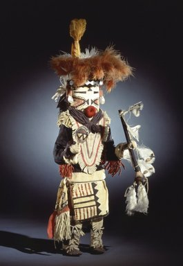 She-we-na (Zuni Pueblo). <em>Kachina Doll (Paiyatemu)</em>, late 19th century. Wood, pigment, horsehair, feathers, wool, hide, cotton, tin, ribbon, 22 1/2 x 9 x 8 in. (57.2 x 22.9 x 20.3 cm). Brooklyn Museum, Museum Expedition 1903, Museum Collection Fund, 03.325.4631. Creative Commons-BY (Photo: Brooklyn Museum, 03.325.4631_SL4.jpg)