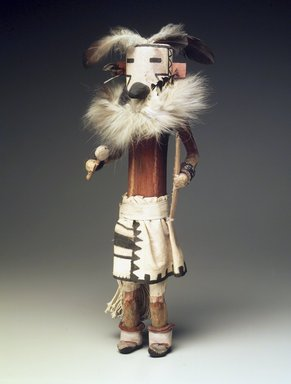 She-we-na (Zuni Pueblo). <em>Kachina Doll (Zakyalestoy)</em>, late 19th century. Wood, cotton, feathers, pigment, fur, 17 1/2 x 5 1/2 x 5 1/2 in. (44.5 x 14 x 14 cm). Brooklyn Museum, Museum Expedition 1903, Museum Collection Fund, 03.325.4634. Creative Commons-BY (Photo: Brooklyn Museum, 03.325.4634.jpg)