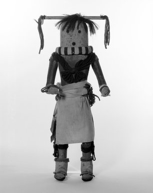 She-we-na (Zuni Pueblo). <em>Kachina Doll (Yamohakto)</em>, late 19th century. Hair, wood,pigment, textile, leather, yarn, metal, 17 1/4 x 5 1/4 x 7 in. (43.8 x 13.3 x 17.8 cm). Brooklyn Museum, Museum Expedition 1903, Museum Collection Fund, 03.325.4638. Creative Commons-BY (Photo: Brooklyn Museum, 03.325.4638_bw.jpg)