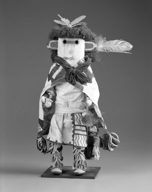She-we-na (Zuni Pueblo). <em>Kachina Doll (Pa-li Tewa)</em>, late 19th century. Wood, pigment, fur, feather, wool, cotton, silk, hide, 17 1/2 x 10 x 4 3/4 in. (44.5 x 25.4 x 12.1 cm). Brooklyn Museum, Museum Expedition 1903, Museum Collection Fund, 03.325.4639. Creative Commons-BY (Photo: Brooklyn Museum, 03.325.4639_bw.jpg)