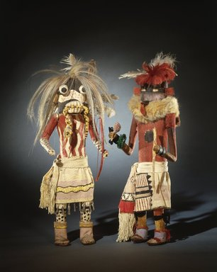 She-we-na (Zuni Pueblo). <em>Kachina Doll (Tam-lam Kushokta)</em>, late 19th century. Hide, cotton, pigment, fur, hair, yucca, wood, metal, wool, 19 x 6 x 4 3/4in. (48.3 x 15.2 x 12.1cm). Brooklyn Museum, Museum Expedition 1903, Museum Collection Fund, 03.325.4653. Creative Commons-BY (Photo: , 03.325.4648_03.325.4653_SL1.jpg)