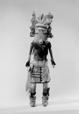 She-we-na (Zuni Pueblo). <em>Kachina Doll (Thlisiawa)</em>, late 19th century. Wood, pigment, yarn, hide, feathers, cotton cloth, 16 15/16in. (43cm). Brooklyn Museum, Museum Expedition 1903, Museum Collection Fund, 03.325.4650. Creative Commons-BY (Photo: Brooklyn Museum, 03.325.4650_acetate_bw.jpg)