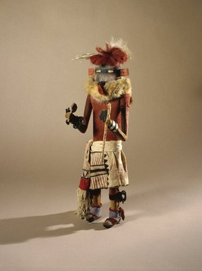 She-we-na (Zuni Pueblo). <em>Kachina Doll (Tam-lam Kushokta)</em>, late 19th century. Hide, cotton, pigment, fur, hair, yucca, wood, metal, wool, 19 x 6 x 4 3/4in. (48.3 x 15.2 x 12.1cm). Brooklyn Museum, Museum Expedition 1903, Museum Collection Fund, 03.325.4653. Creative Commons-BY (Photo: Brooklyn Museum, 03.325.4653_SL1.jpg)