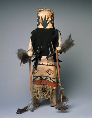 She-we-na (Zuni Pueblo). <em>Kachina Doll (Anahoho)</em>, late 19th century. Wood, pigment, feathers, cotton fabric, 14 3/4 x 6 3/4 x 8 in. (37.5 x 17.1 x 20.3 cm). Brooklyn Museum, Museum Expedition 1903, Museum Collection Fund, 03.325.4658. Creative Commons-BY (Photo: Brooklyn Museum, 03.325.4658_SL1.jpg)