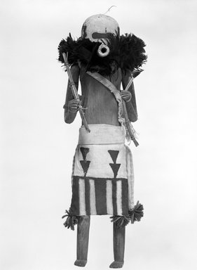 She-we-na (Zuni Pueblo). <em>Kachina Doll (Salimopia Thleana Suna)</em>, late 19th century. Feather, cotton, wood, pigment, cord, yarn, 17 1/2 x 5 1/4 x 5 1/2 in. (44.5 x 13.3 x 14 cm). Brooklyn Museum, Museum Expedition 1903, Museum Collection Fund, 03.325.4663. Creative Commons-BY (Photo: Brooklyn Museum, 03.325.4663_view1_bw.jpg)