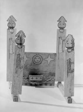 She-we-na (Zuni Pueblo). <em>Part of Shalako Medicine Society Shrine or Galaxy Fraternity Altar, in 8 pieces</em>, late 19th century. Wood, pigment, cloth, feathers, shell, string, fiber, stone Brooklyn Museum, Museum Expedition 1903, Museum Collection Fund, 03.325.4708a-h. Creative Commons-BY (Photo: Brooklyn Museum, 03.325.4708a-h_acetate_bw.jpg)