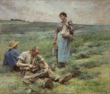 Léon-Augustin Lhermitte (French, 1844-1925). <em>Old Harvester's Meal (La soupe du vieux faucheur)</em>, January 1886. Pastel on brown wove paper mounted to canvas, 29 1/2 x 35 in.  (74.9 x 88.9 cm). Brooklyn Museum, Bequest of Henry W. Maxwell, 03.326 (Photo: Brooklyn Museum, 03.326.jpg)