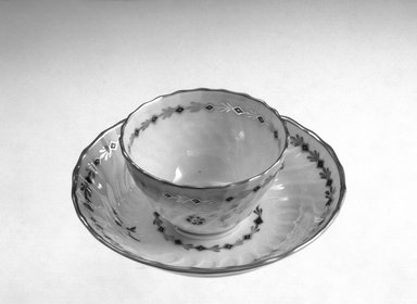 <em>Cup and Saucer</em>, 1760-1783. Decorated porcelain Brooklyn Museum, Gift of Reverend Alfred Duane Pell, 03.327. Creative Commons-BY (Photo: Brooklyn Museum, 03.327_bw.jpg)