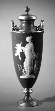 Louis Marc Solon (French, 1835-1913). <em>Vase with Cover</em>, 1873-1904. Decorated porcelain, 16 1/8 x 3 (of rim) in. (41 x 7.6 cm). Brooklyn Museum, Gift of Reverend Alfred Duane Pell, 03.328.106. Creative Commons-BY (Photo: Brooklyn Museum, 03.328.106a-b_bw.jpg)