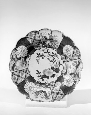 <em>Plate</em>, 1750-83. Decorated porcelain, 1 x 9 1/2 in. (2.5 x 24.1 cm). Brooklyn Museum, Gift of Reverend Alfred Duane Pell, 03.328.118. Creative Commons-BY (Photo: Brooklyn Museum, 03.328.118_acetate_bw.jpg)