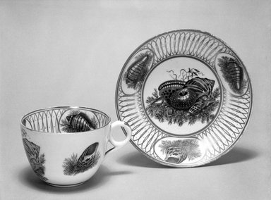 <em>Cup and Saucer</em>, ca. 1830. Decorated porcelain, Cup: 2 3/8 x 3 5/16 in. (6 x 8.4 cm). Brooklyn Museum, Gift of Reverend Alfred Duane Pell, 03.328.153a-b. Creative Commons-BY (Photo: Brooklyn Museum, 03.328.153a-b_bw.jpg)