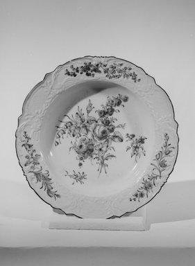 <em>Soup Plate</em>, 1753-1758. Decorated porcelain, 1 3/4 x 9 1/2 in. (4.4 x 24.1 cm). Brooklyn Museum, Gift of Reverend Alfred Duane Pell, 03.328.158. Creative Commons-BY (Photo: Brooklyn Museum, 03.328.158_acetate_bw.jpg)