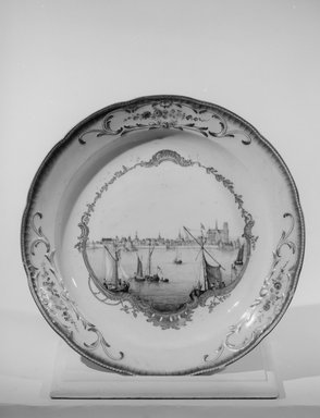 <em>Large Plate or Platter</em>, 1763. Decorated porcelain, 2 x 11 7/8 in. (5.1 x 30.2 cm). Brooklyn Museum, Gift of Reverend Alfred Duane Pell, 03.328.171. Creative Commons-BY (Photo: Brooklyn Museum, 03.328.171_acetate_bw.jpg)