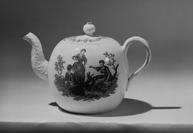 <em>Teapot</em>, 1760-1770. Creamware, 4 3/4 x 2 11/16 (of top) in. (12.1 x 6.8 cm). Brooklyn Museum, Gift of Reverend Alfred Duane Pell, 03.328.206. Creative Commons-BY (Photo: Brooklyn Museum, 03.328.206_acetate_bw.jpg)