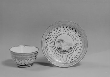 <em>Cup and Saucer</em>, 1795-6. Decorated porcelain, Cup: 1 7/8 x 3 1/4 in. (4.8 x 8.3 cm). Brooklyn Museum, Gift of Reverend Alfred Duane Pell, 03.328.71a-b. Creative Commons-BY (Photo: Brooklyn Museum, 03.328.71a-b_acetate_bw.jpg)
