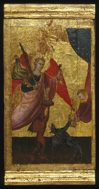 Lorenzo di Niccolò (Italian, Florentine, documented 1393-1412). <em>Saint Lawrence Intercedes for the Soul of Emperor Henry II</em>, ca. 1412. Tempera and tooled gold on poplar panel, 15 x 9 x 7/16 in. (38.1 x 22.9 x 1.1 cm). Brooklyn Museum, Gift of A. Augustus Healy, 03.74 (Photo: Brooklyn Museum, 03.74_SL1.jpg)