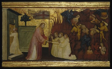 Lorenzo di Niccolò (Italian, Florentine, documented 1393-1412). <em>Saint Lawrence Liberates Souls from Purgatory</em>, ca. 1412. Tempera and tooled gold on poplar panel, 13 5/16 x 26 5/8 in. (33.8 x 67.6 cm). Brooklyn Museum, Gift of A. Augustus Healy, 03.75 (Photo: Brooklyn Museum, 03.75_SL1.jpg)